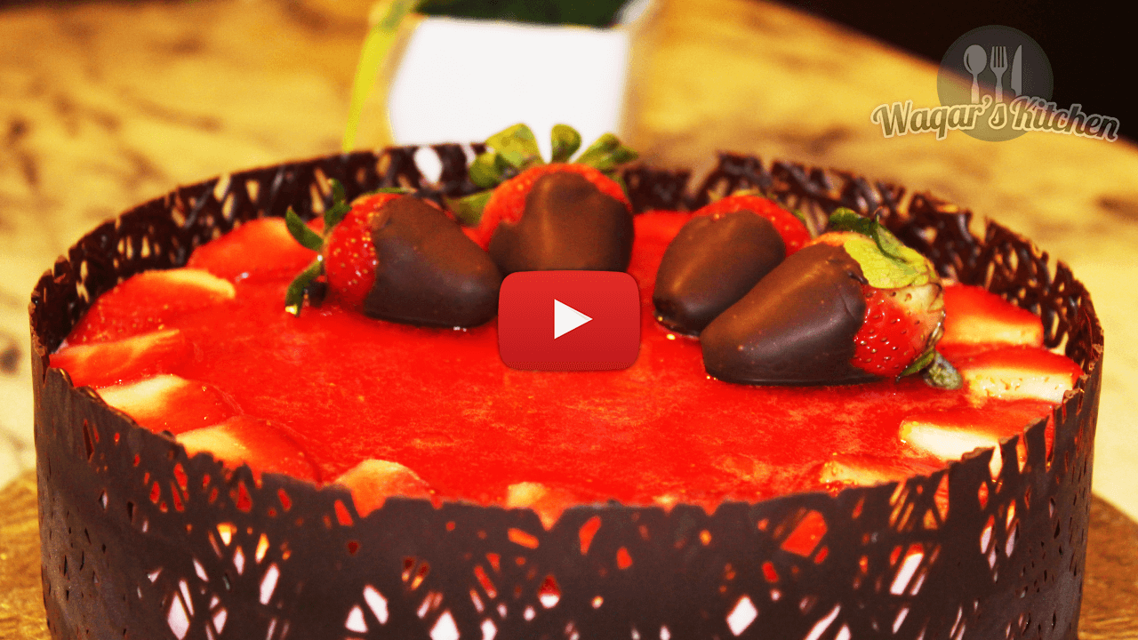 Strawberry Mousse Cake Recipe Waqar S Kitchen